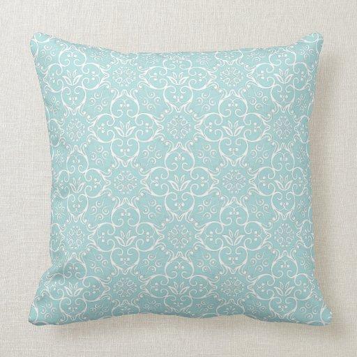 Tiffany Blue & White Damask Pillow Zazzle