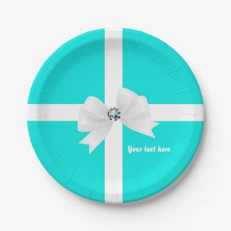 Tiffany Blue & White Elegant Glam Diamond Bow Paper Plate