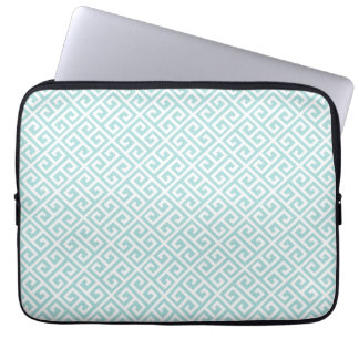 Tiffany Blue & White Greek Key Laptop Sleeve