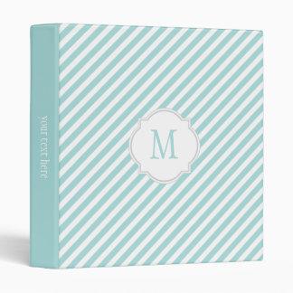 Tiffany Blue & White Striped Pattern Binder