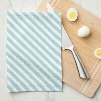 Tiffany Blue & White Striped Pattern Kitchen Towel