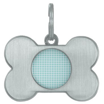 McTiffany Tiffany Aqua Tiffany Blue & White Tile Pattern Pet ID Tag