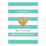 Tiffany Blue turquoise teal mint stripy stylish elegant modern Will You Be My Bridesmaid Invitation