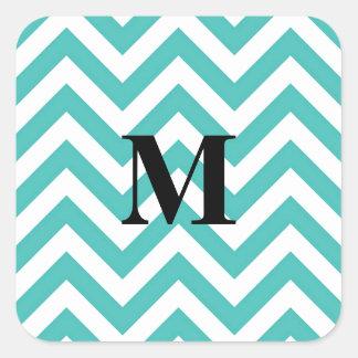 Tiffany Chevron azul con el monograma Pegatina Cuadrada