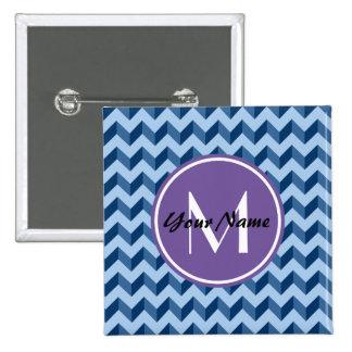 Tiffany con monograma y azules marinos Chevron Chapa Cuadrada 5 Cm
