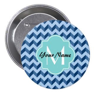 Tiffany con monograma y azules marinos Chevron Chapa Redonda 7 Cm