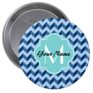 Tiffany con monograma y azules marinos Chevron Chapa Redonda 10 Cm