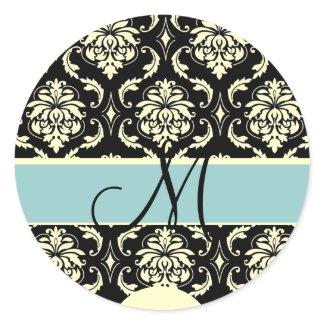 Tiffany & Cream Monogram Damask Wedding Sticker sticker