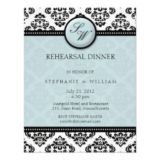 Tiffany Damask Monogram Rehearsal Dinner Card Personalized Invite