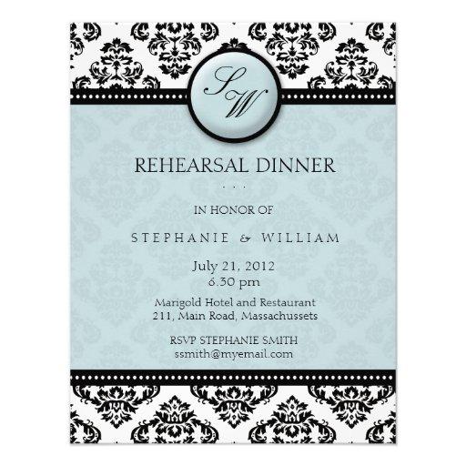 Tiffany Damask Monogram Rehearsal Dinner Card Personalized Invite