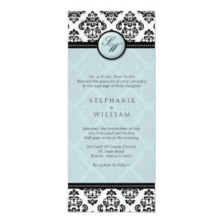 Tiffany Damask Monogram Wedding Invitation