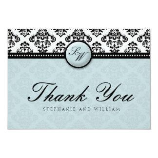 Tiffany Damask Monogram Wedding Thank You Card