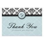 Tiffany Damask Monogram Wedding Thank You Card Custom Invite