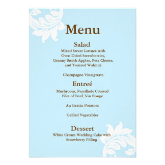 Tiffany Damask Wedding Menu Invitations