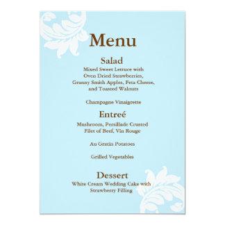 """Tiffany Damask Wedding Menu 5"""" X 7"""" Invitation Card"""