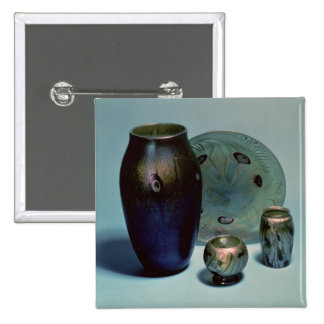 Tiffany favrile plate and vases pinback button