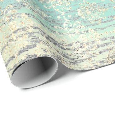 Beach Themed Tiffany Foxier Mint Damask Wood Silver Gray Rustic Wrapping Paper