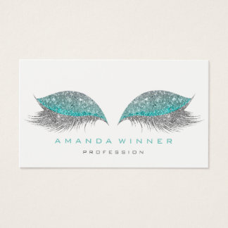 Tiffany Gray Glam Lashes Extention Makeup Glitter Business Card