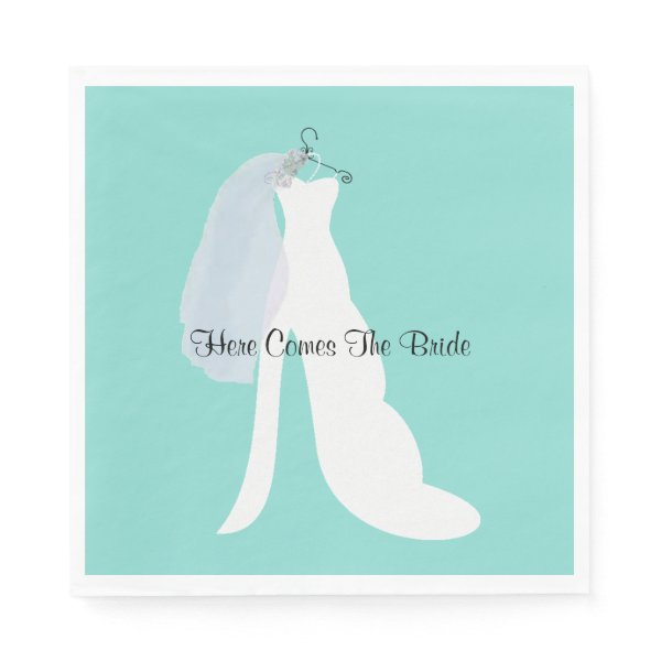 Tiffany Here Comes The Bride Party Napkins