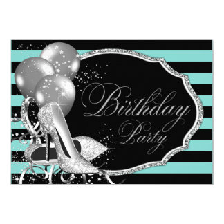 Tiffany Inspired Black Teal Blue Birthday Party 5x7 Paper Invitation Card