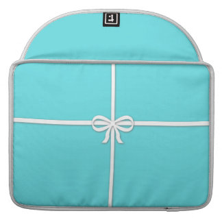 Tiffany-inspired, robins egg blue with ribbon MacBook pro sleeves