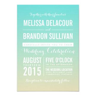 Tiffany invitación azul del boda de Ombre/de la Invitación 12,7 X 17,8 Cm