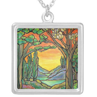 "Tiffany Landscape ""Mini Stained Glass Window! Square Pendant Necklace"