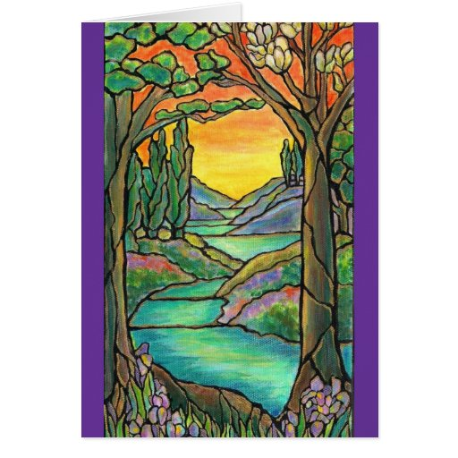 Tiffany Landscape Stained Glass Design ART! Card
