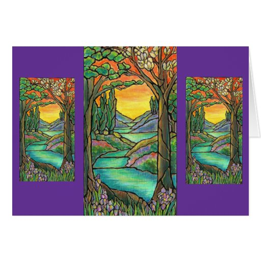 Tiffany Landscape Stained Glass Design ART! Greeting Cards