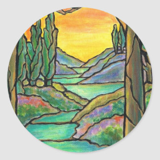 Tiffany Landscape Stained Glass Design ART! Classic Round Sticker