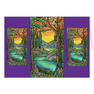 Tiffany Landscape Stained Glass Design ART! Greeting Card