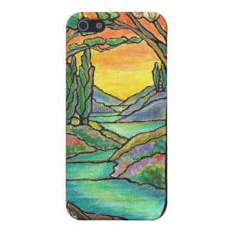 Tiffany Landscape Stained Glass Design ART! Cover For iPhone 5