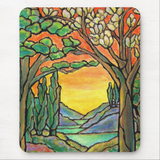 Tiffany Landscape Stained Glass Design ART! Mouse Pad