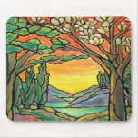 Tiffany Landscape Stained Glass Design ART! Mousepad