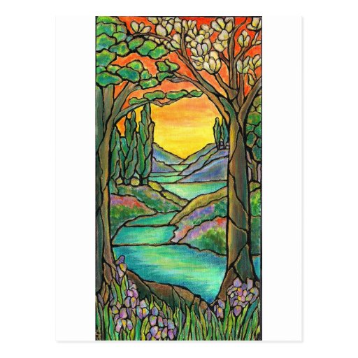 Tiffany Landscape Stained Glass Design ART! Postcard