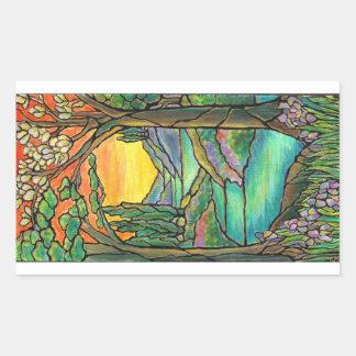 Tiffany Landscape Stained Glass Design ART! Rectangular Sticker