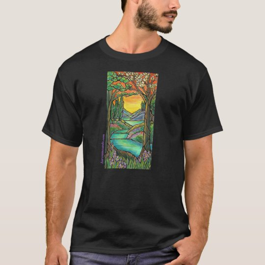 Tiffany Landscape Stained Glass Design ART! T-Shirt