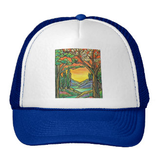 Tiffany Landscape Stained Glass Design ART! Trucker Hat