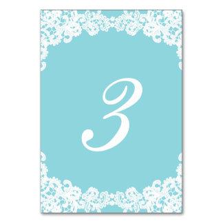 Tiffany/Mint blue elegant lace wedding table card