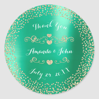 Tiffany Mint Glitter Save the Date Thank You Classic Round Sticker