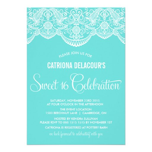 Tiffany Moroccan Lace Sweet Sixteen Invitation