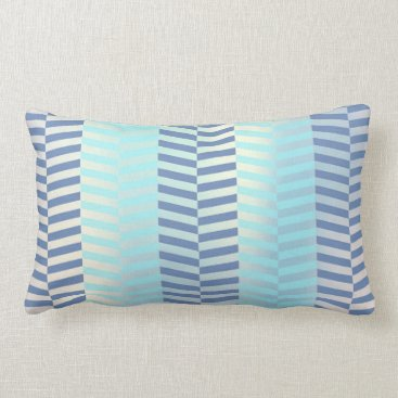Beach Themed Tiffany Navy Blue Aqua Beach Ocean Chevron Lumbar Pillow