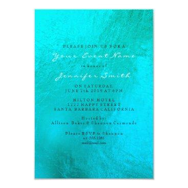 Beach Themed Tiffany Ocean Blue Aqua Pearl White Metallic Beach Card