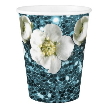 McTiffany Tiffany Aqua Tiffany Ocean Blue Glitter  Flower Jasmin Sequin Paper Cup