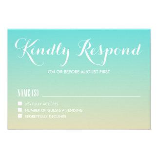 Tiffany Ombre azul que casa la tarjeta de RSVP Anuncios Personalizados