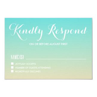 Tiffany Ombre azul que casa la tarjeta de RSVP Invitación 8,9 X 12,7 Cm