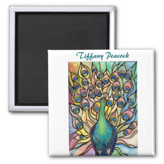 Tiffany Peacock Stained Glass style ART Magnet! 2 Inch Square Magnet