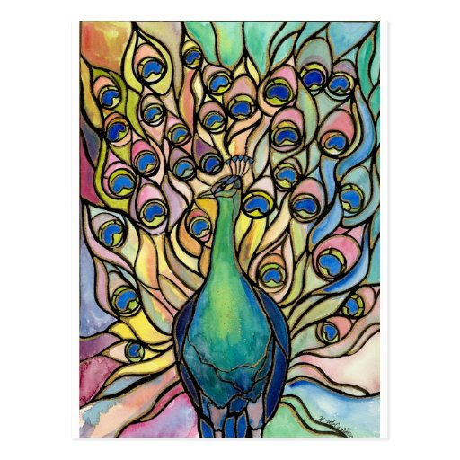 Tiffany Peacock Stained Glass style ARTpostcard Post Card