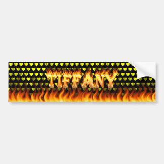 Tiffany real fire and flames bumper sticker design