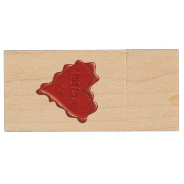McTiffany Tiffany Aqua Tiffany. Red heart wax seal with name Tiffany Wood USB Flash Drive